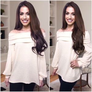 AUTUMN DAYS ribbed off shoulder sweater